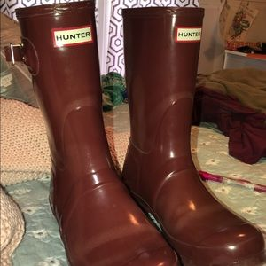 Maroon hunter rain boots